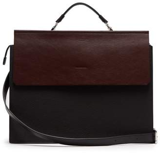 Nosakhari - Standout Bi Colour Grained Leather Briefcase - Mens - Black Burgundy