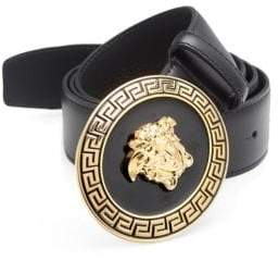 Versace Medusa Greek Key Enamel Leather Belt