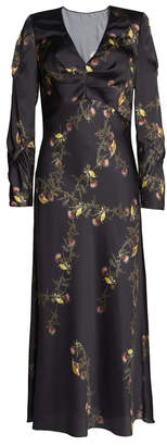 Lake Studio Floral-Print Satin Maxi Dress