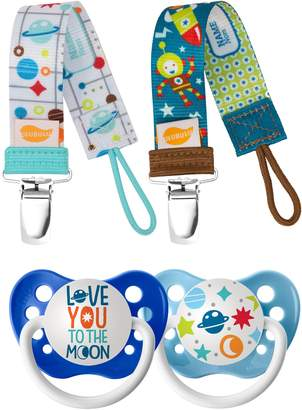 Ulubulu Love You to the Moon 2-Pack Pacifier & Clip Set