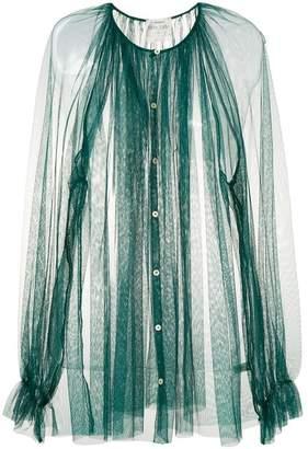 Forte Forte long-sleeve sheer flared blouse