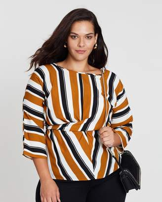 Curve Twist-Front Striped Top