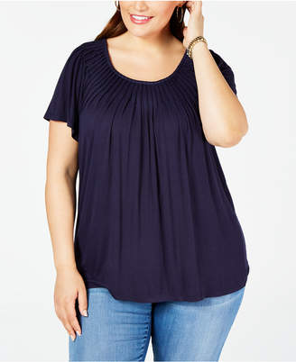 Style&Co. Style & Co Plus Size Solid Pleat-Neck Top
