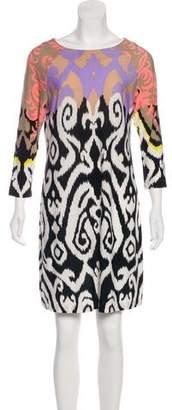 Tibi Printed Long Sleeved Midi Dress