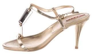 Prada Sport Leather T-Strap Sandals