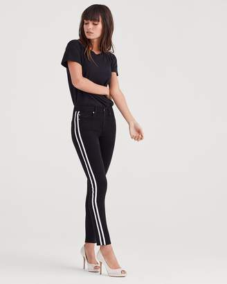 7 For All Mankind B(air) Denim Ankle Skinny with Faux Leather White Stripes in Black