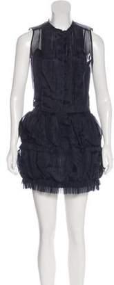 Ermanno Scervino Pleated Mini Dress Navy Pleated Mini Dress