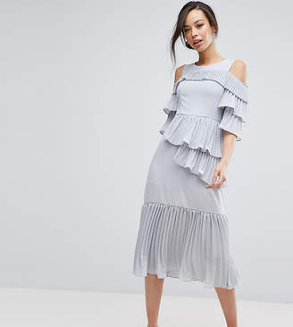True Decadence Tall Cold Shoulder Midi Dress With Pleated Layer Detail
