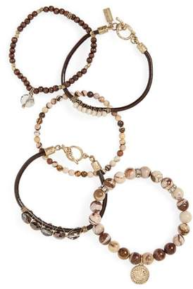 Canvas Jewelry Set of 5 Stone & Crystal Bracelets