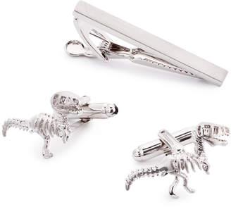 the Gift Men's Dinosaur Cuff Links & Tie Bar Set