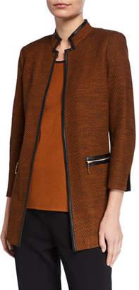 Misook Petite Long Jacket with Faux Leather Trim & Mandarin Collar
