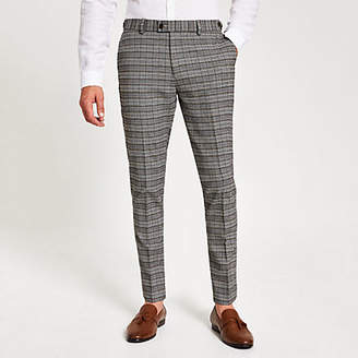 River Island Grey check stretch skinny suit trouser