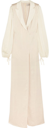 Lanvin - Satin-trimmed Washed-twill Gown - Ivory $4,300 thestylecure.com
