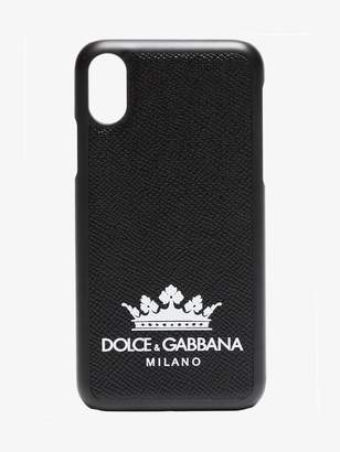 Dolce & Gabbana Black leather iPhone X logo crown case