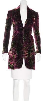 Nigel Curtiss Paisley Print Velvet Coat w/ Tags