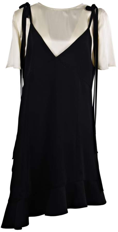 Asymmetric Slip Ruffled Dress