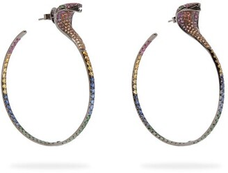 Lynn Ban - Sapphire, Ruby & Rhodium Plated Earrings - Womens - Multi