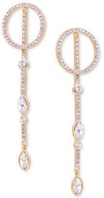 GUESS Gold-Tone Crystal Circle & Drop Front-and-Back Earrings