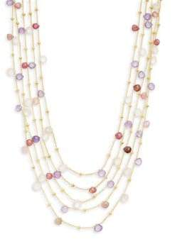 Saks Fifth Avenue 18K Goldplated Sterling Silver Pink Tourmaline, Rose Quartz & Amethyst Five-Strand Collar Necklace