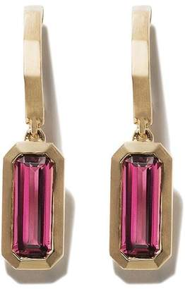 David Yurman 18kt yellow gold Novella hoop drop pink tourmaline earrings