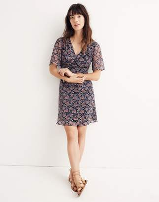 Madewell Orchard Flutter-Sleeve Dress in Fan Floral Mix