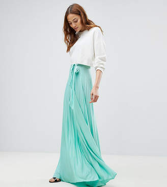 Asos Tall Pleated Maxi Skirt With Belt