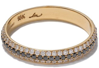 Lizzie Mandler Fine Jewelry 18kt yellow gold three row diamond pave cigar band