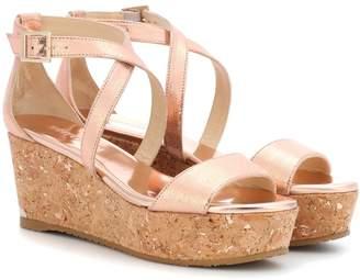 Jimmy Choo Portia 70 metallic leather platform sandals