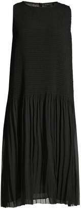 Eileen Fisher Textured Dropped Waist Pleated Dresss