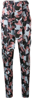 Talbot Runhof tapered camouflage print trousers