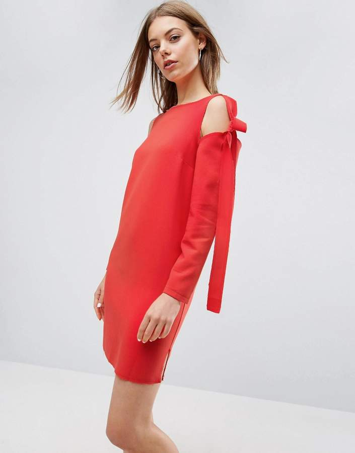 Asos ASOS Cold Shoulder Shift Dress with Bow Detail