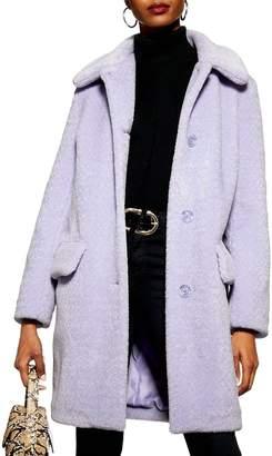 Topshop Button Detail Faux Fur Coat