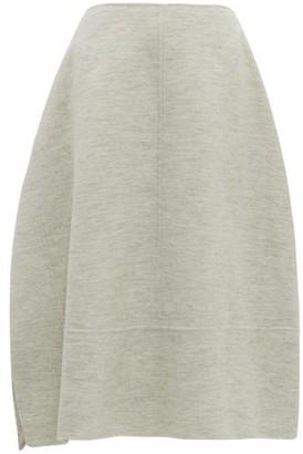 Jil Sander Asymmetric Wool Melange Skirt - Womens - Light Grey
