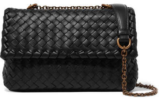 Bottega Veneta Baby Olimpia Small Intrecciato Leather Shoulder Bag - Black