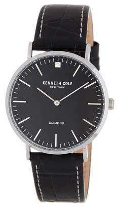 Kenneth Cole New York Men's CZ Accented Leather Strap Watch, 35mm