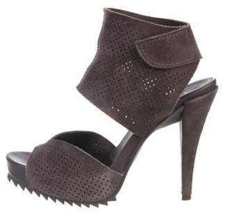Pedro Garcia Suede Platform Sandals Grey Suede Platform Sandals