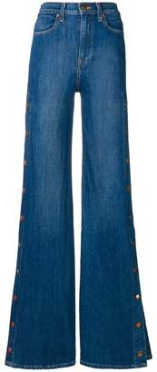 Alice + Olivia Alice+Olivia buttoned side flared jeans