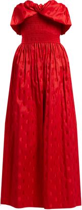 Ernestine strapless polka-dot silk-jacquard gown