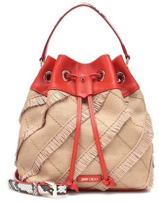 Jimmy Choo Juno leather and raffia bucket bag