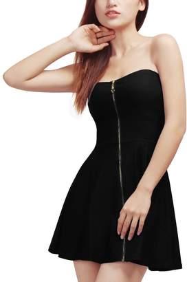Allegra K Women's Strapless Exposed Zipper Front Mini A-Line Dress S