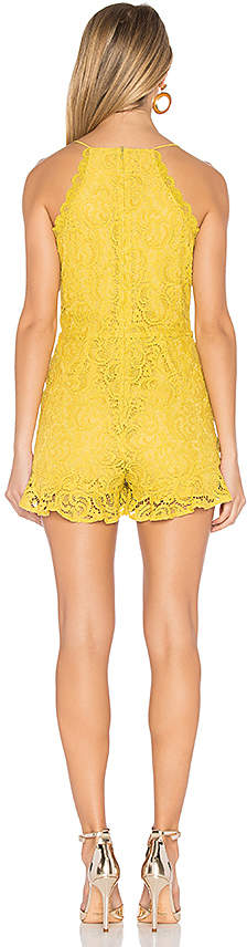 J.O.A. Frill Bottom Detail Lace Romper in Yellow 3