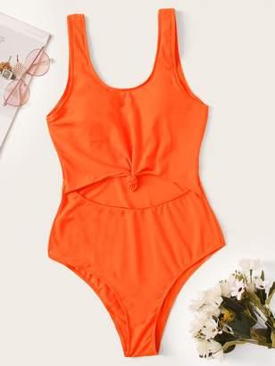 Shein Neon Orange Cut-out Front One Piece Swimwear