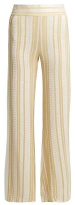 Zeus + Dione - Alcyone Striped Silk Blend Trousers - Womens - Cream Gold