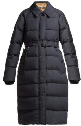 Burberry Bridgnorth Vintage Check Lined Quilted Coat - Womens - Navy