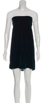 Miu Miu Velvet Strapless Knee-Length Dress