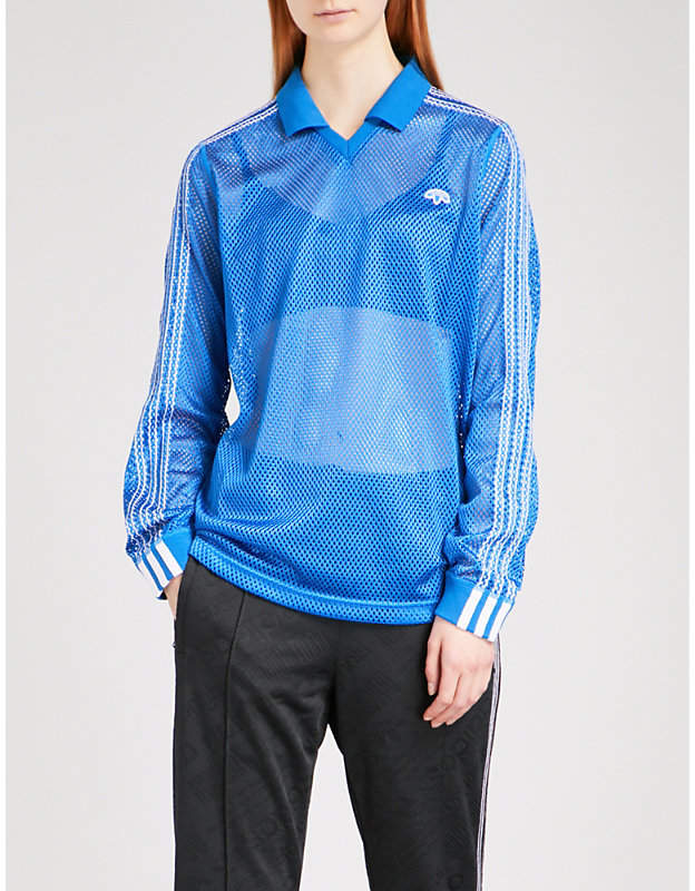Adidas X Alexander Wang 3-Stripes-detail mesh polo shirt