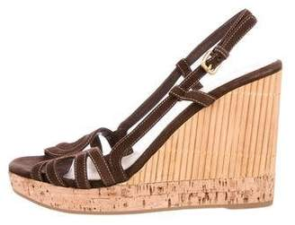 Prada Bamboo Wedge Sandals