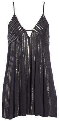 Free People Here She Is Embellished Swing Minidress