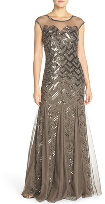 Adrianna Papell Embellished Mesh Gown $349 thestylecure.com
