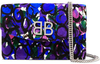 Balenciaga Bb Chain Printed Quilted Velvet Shoulder Bag - Blue